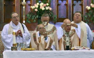 Fr Bill Eddy, far left, as concelebrant at the Centennial Mass, October 25, 2009