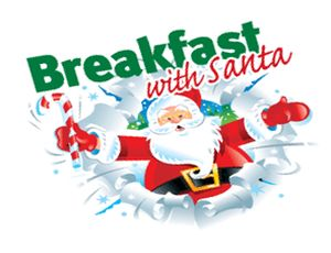 Santa claus bursting from a snowdrift with the caption: Breakfast with Santa