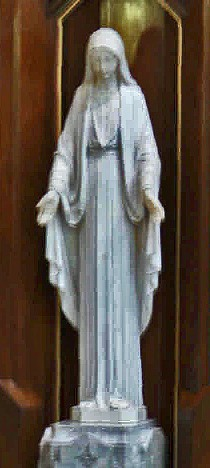 Mary statue in Queen of Angels church: a marble statue of the Blessed Virgin Mary