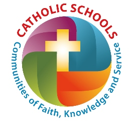 Catholic Schools Week logo, a cross inside a circle surrounded by the text Catholic Schools, Communities of Faith, Knowledge and Service