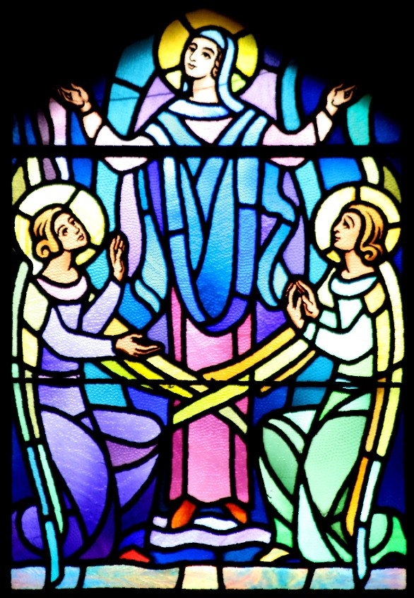 Window depicting the Assumption of Mary in Queen of Angels Church, photo by Jim Hohner