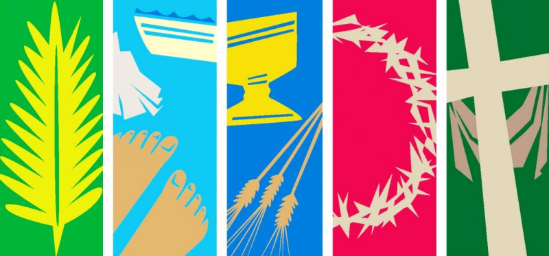 Holy Week symbols: palm branch, basin and towel for footwashing, chalice and wheat, crown of thorns, cross with draped shroud