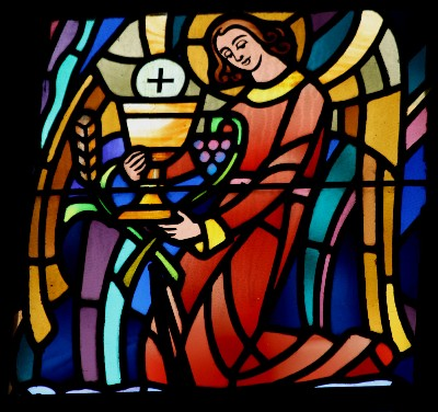Eucharist sacrament window, photo by Jim Hohner
