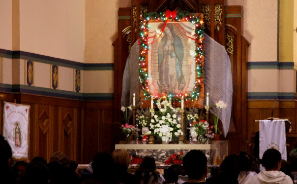 Image of Our Lady of Guadalupe displayed Queen of Angels Church